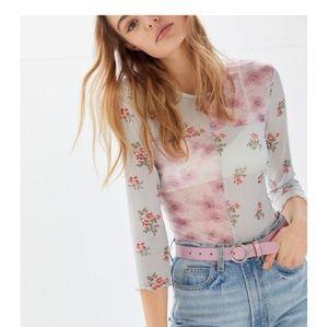 NWT Floral Sheer Mesh Multi Color Shirt